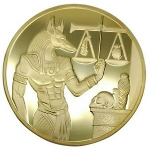 EGYPT ANUBIS GOD ANCIENT EGYPT PYRAMID JACKAL COMMEMORATIVE GOLD PLATED 40MM