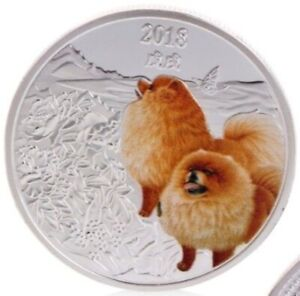 CHOW CHOW DOG 2018 UNC COMMEMORATIVE SILVER PLATED COLORIZED 40MM COIN