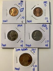 U.S. COIN PROOF LOT 5 PROOF COINS LINCOLN CENT JEFFERSON NICKEL ADAMS DOLLAR