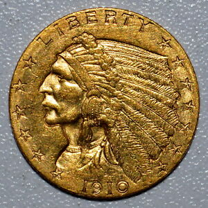 1910 P $2.50 GOLD INDIAN  UNCIRCULATED DETAILS  2 1/2 CLEANED UNC TRUSTED