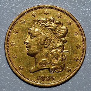 1834 $5 CLASSIC HEAD GOLD PIECE  AU ALMOST UNC DETAILS  CLEANED I70 TRUSTED