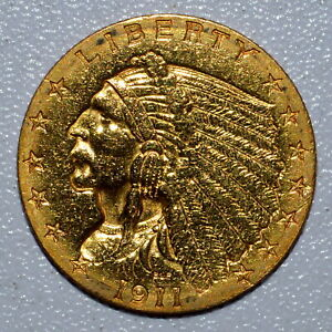 1911 P $2.50 GOLD INDIAN  UNCIRCULATED DETAILS  2 1/2 POLISHED UNC TRUSTED