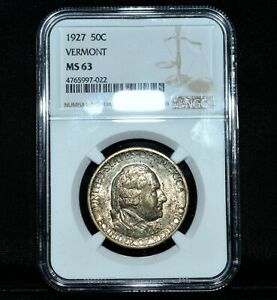 1927 VERMONT COMMEMORATIVE 50C  NGC MS 63  SILVER UNCIRCULATED CH BU TRUSTED