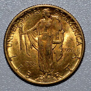 1926 GOLD $2.50 SESQUICENTENNIAL  AU ALMOST UNCIRCULATED  1/2  TRUSTED