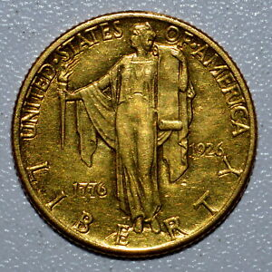 1926 GOLD $2.50 SESQUICENTENNIAL  AU ALMOST UNCIRCULATED  1/2 CLEANEDTRUSTED