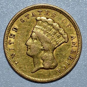 1854 P $3 GOLD PIECE  VF FINE DETAILS   NOW CLEANED  TRUSTED