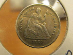 AU 1867 S SEATED HALF DIME   ONLY 120 000 MADE   GOOD TYPE COIN   GAEG