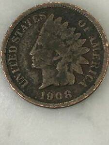 1908 INDIAN HEAD CENT   110  YEAR OLD PENNY  US COPPER TYPE   ACTUAL SHOWN  15A