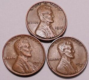 1945 P 1945 D 1945 S LINCOLN WHEAT CENT PENNY   3 NICE COINS