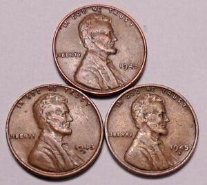 1945 P 1945 D 1945 S LINCOLN WHEAT CENT PENNY   3 COINS