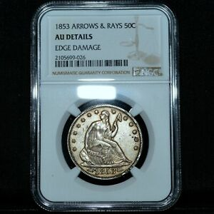 1853 P SEATED LIBERTY HALF DOLLAR  NGC AU DETAILS  50C ARROWS & RAYS TRUSTED