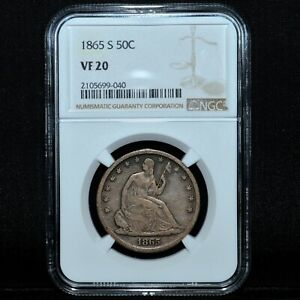 1865 S SEATED LIBERTY HALF DOLLAR  NGC VF 20  50C FINE  TRUSTED