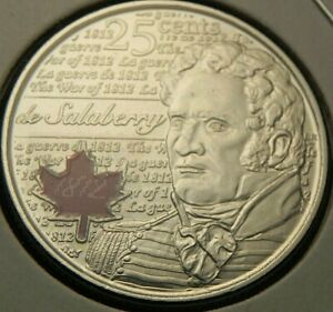 2013 UNC SALABERRY COLOR CANADIAN CANADA  QUARTER 25 TWENTY FIVE CENTS ELIZABETH