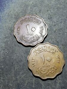 2 COIN LOT. EGYPT KINGDOM 1938   1943 10 MILLIEMES COINS EGYPT KING FAROUK 02