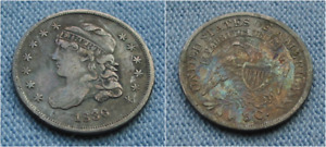 1836 CAPPED BUST HALF DIME   TONED W/ GREAT DETAILS  5C