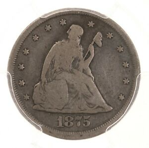 1875 CC TWENTY CENT 20C PCGS CAC CERTIFIED VG08 CARSON CITY SILVER COIN
