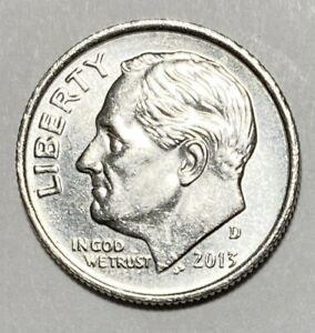 2013 D ROOSEVELT DIME 10 CENTS DOUBLE DIE REVERSE ERROR CIRCULATED COIN   2724