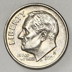 2000 D ROOSEVELT DIME 10 CENTS REPUNCHED MINTMARK ERROR CIRCULATED COIN   2721