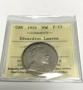 1910  50CENTS  EDWARDIAN LEAVES    SILVER  CANADA    ICCS  XWK140   F15