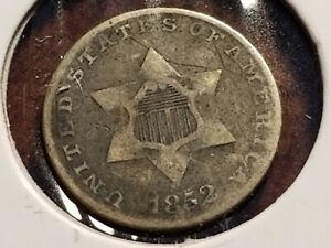 1852 THREE CENT SILVER FULL DATE ODD DENOMINATION     INV12    N1203