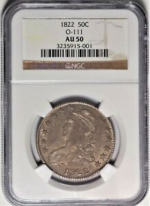 1822 O 111 50C NGC AU 50 ALMOST UNCIRCULATED CAPPED BUST HALF DOLLAR COIN