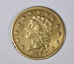 1836 $2.50 CLASSIC HEAD GOLD  BLOCK 8 VARIETY IN XF