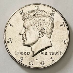 2001 D KENNEDY HALF DOLLAR 50 CENTS DDR ERROR UNCIRCULATED COIN     2681
