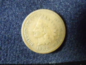 1882 INDIAN HEAD CENT PENNY VG DETAILS   C 8