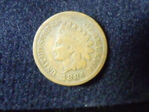 1884 INDIAN HEAD CENT PENNY VG DETAILS   C 10