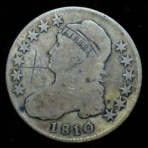 1810 CAPPED BUST HALF DOLLAR  GOOD G DETAILS  50C GRAFITTI SCRATCHED TRUSTED