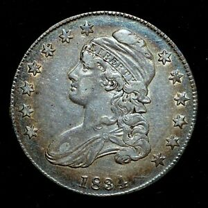 1834 CAPPED BUST HALF DOLLAR  AU ALMOST UNC DETAILS  50C  DATE TRUSTED