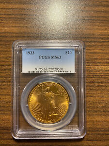 1923 P $20 GOLD SAINT GAUDENS DOUBLE EAGLE PCGS MS 63 TWENTY DOLLAR GOLD