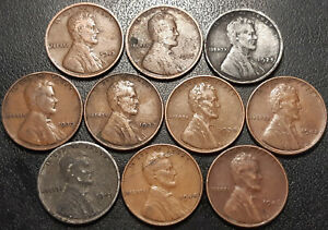 UNITED STATES   SET OF X10 1 LINCOLN WHEAT CENT OF 1913 TO 1946