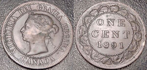 CANADA   VICTORIA   1 CENT 1891 LARGE LEAVES LARGE DATE   KM 7