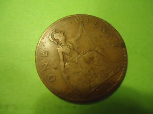 1927 ENGLISH ONE PENNY COIN        > USA SELLER <