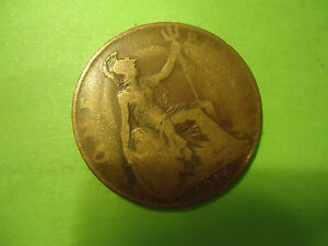 1916 ENGLISH ONE PENNY COIN            > USA SELLER <