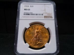 1924 MS63 ST GAUDENS DOUBLE EAGLE $20 GOLD NGC CERTIFIED   BEAUTIFUL COIN/PQ
