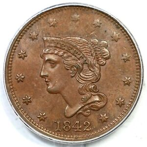 Click now to see the BUY IT NOW Price! 1842 N 5 R 3 PCGS MS 64 BN LG DATE BRAIDED HAIR LARGE CENT COIN 1C
