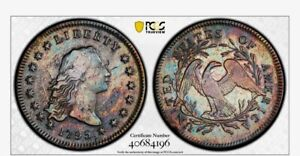1795 FLOWING HAIR DOLLAR 2 LEAVES PCGS   ALSO INCLUDES 1795 CENT AND 1787 FUGIO