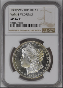 Click now to see the BUY IT NOW Price! TOP POP  UNIQUE  1880/79 S TOP 100 VAM 8 MEDIUM S $1 NGC MS67  PURE GEM