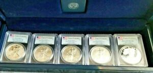 2011 SILVER EAGLE   25TH ANNIVERSARY 5 COIN SET   PCGS PF70 MS70   FIRST STRIKE