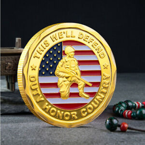 ARMY COLLETION COIN COMMEMORATIVE CHALLENGE AMERICAN MILITARY COLLECTIBLE GOLD