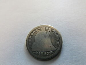 ARROWS SEATED LIBERTY SILVER DIME 1853 PHILADELPHIA MINT 10 CENTS SILVER COIN