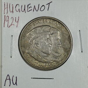 1924 50C HUGUENOT COMMEMORATIVE HALF DOLLAR IN AU CONDITION 03904