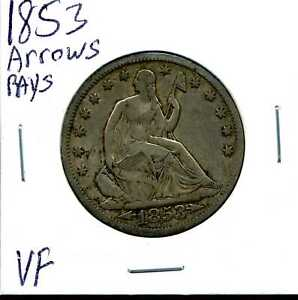 1853 ARROWS & RAYS 50C SEATED LIBERTY HALF DOLLAR IN VF CONDITION 03895