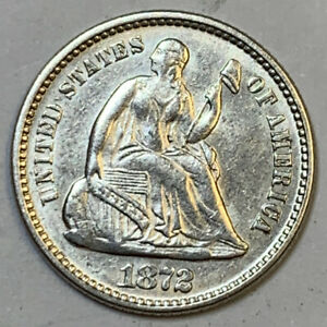 1872 SEATED LIBERTY HALF DIME CLND SOME LUSTER   NICE GRADE   KB3488