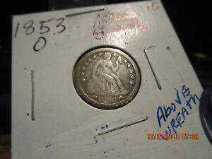 1853 O W/ARROWS SEATED LIBERTY DIME  VG