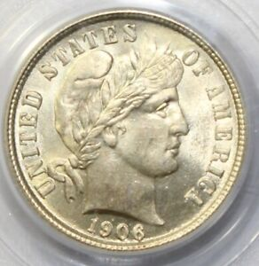 1906 10C BARBER DIME PCGS MS 64 REALLY IS BLAST WHITE