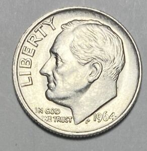 1964 ROOSEVELT DIME 10 CENT 0.900 SILVER UNCIRCULATED COIN  3266