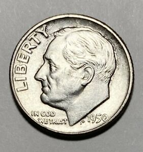 1950 ROOSEVELT DIME 10 CENT 0.900 SILVER CIRCULATED COIN  3314